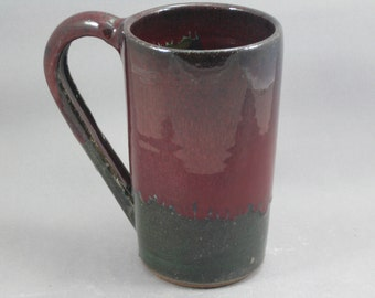 Pottery Beer Mug Red & Green to Black REDGTB33
