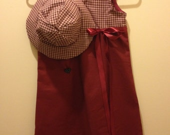Handcrafted size 8 sleeveless dress with matching floppy hat