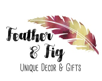 Premade Customizable Watercolor Logo - Feather - Business Cards - Blog - Marketing - Branding
