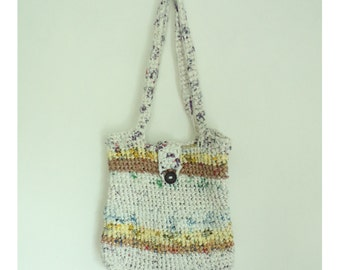 90s Plastic Bag Woven Shoulder Bag, Handmade Shoulder Bag, Recycled Bag Purse, Mod Purse, Hand woven purse, boho bag, minimalist purse