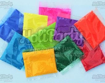 Multi-Coloured Bundle of HoliParty Coloured Throwing Powder (Holi/Gulal Colour Run Powder)