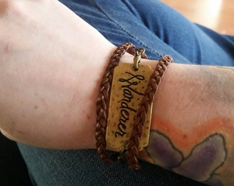 Wanderer faux-leather and bronze braided wrap bracelet