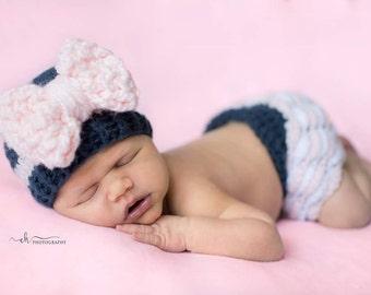 Baby girl newborn outfit, baby girl gift, baby girl homecoming outfit, baby girl hat, baby girl ruffle diaper cover, newborn photo prop