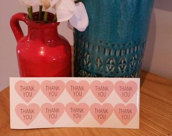 Thank You Stickers Pk20 - Pink Heart
