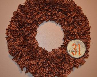 Halloween Rag Wreath (Black & Orange)