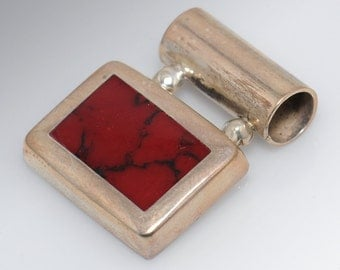 Sterling Silver and Red Stone Rectangle Pendant