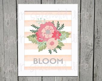 Spring Floral and Stripes Easter Bloom Digital Print 16 x 20