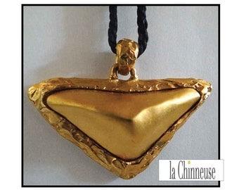 NECKLACE TREASURE by LANCÔME /Pendentif treasure by Lancôme black silk cord / french Vintage Jewel Lancôme.