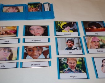 Emotions 3-part cards--Montessori adjectives--Montessori educational early learning materials
