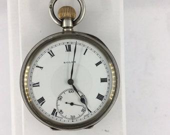 ROLEX 1933 Genue Antique Vintage  Rare Silver Case Pocket Watch~ SERVICED ~