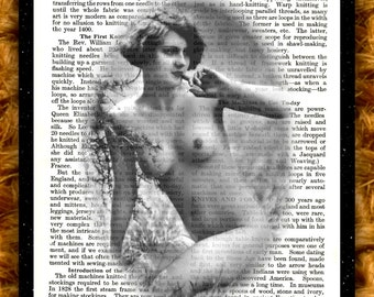 Art Print Book Page Vintage EROTIC RETRO LADY Recycled Upcycled Print From Encyclopaedia