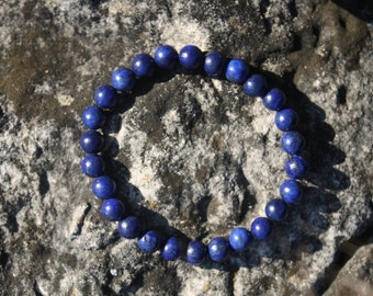 Lapis Lazuli Gemstone Bracelet -  Blue Beaded Bracelet, Gemstone Bracelet, Stretch Bracelet, Royal Blue Bracelet