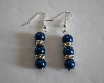 Dark Blue Rhinestone Pearl Earrings, Pearl Earrings, Blue Earrings,