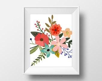SALE -  Flower Illustration, Flower Bouquet, Nature Art Poster Print, Home Decoration, Living Room, Guest Room Idea, Bathroom Poster