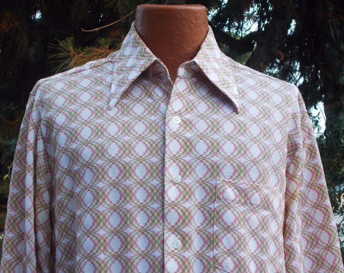 Vintage 70s Disco Hippie MOD W. G. By William Gary Mens White Multi-color Polyester Nylon Casual Geometric Long Sleeve Shirt 17 33