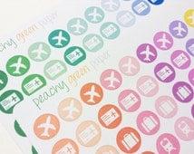 66 Travel (Airplane, train, passport, tickets, suitcase) Icon Stickers - Aqua and Pinks - Planner, Scrapbooks, Crafts