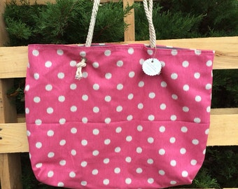 Pink Polka Dot Slouch Bag with Cotton Braided Straps