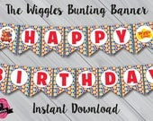 """The Wiggles """"Happy Birthday"""" Bunting Banner. Instant Download! Digital File/Printable."""