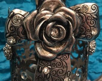 Large Cross-rose and rhinestone embellished crown