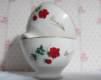 """Advertising bowl café au lait made in France """"Café Excella"""" 1920 with lovely red Roses"""