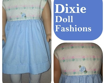 American Handcrafted 18 inch girl Doll Clothes by Dixie ! Spring Blue/White Dress