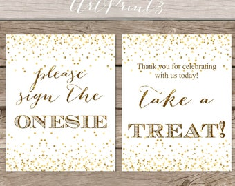 Printable Baby Shower Table Signs, Instant Download Gold Baby Shower Decorations, 6 Baby Shower Signs 8x10, Printable Baby Shower Signs