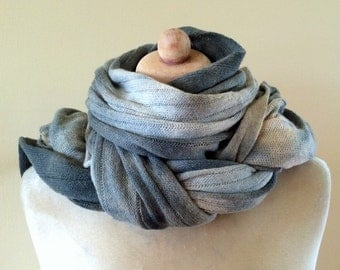 grey wool scarf, warm winter man scarf, ombre scarf, unique hand dyed wool scarf, lambswool knit scarf, shades of grey, gift  48