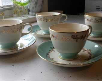 Teacups and Saucers-Teal, Gold, and White