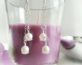 Pearl earrings dangle, pearl earrings wedding, pearl earrings drop, sterling silver chain earrings, bridal earrings pearl, long chain dangle