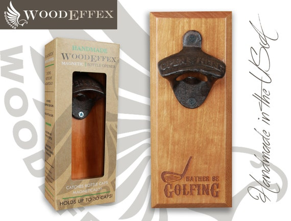 personalized bottle opener magnetic cap catcher by woodeffex. Black Bedroom Furniture Sets. Home Design Ideas