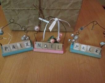 3 decorations Christmas Scrabble