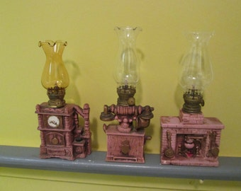 3 old small oil lamp