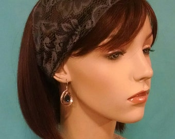 SILVERY GREY lace and bead headband