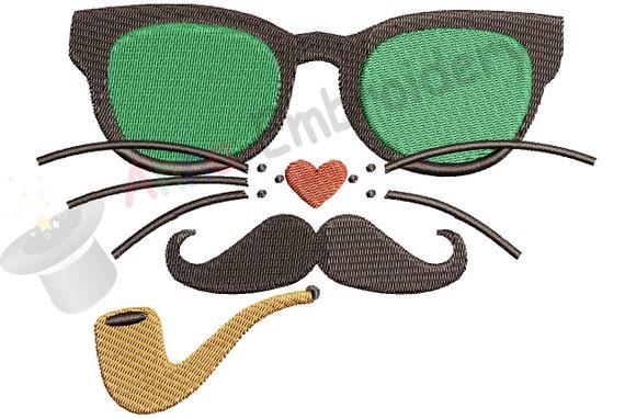 Cat with glasses moustache pipe machine embroidery design