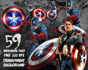 Captain America Clipart-PNG -transparent-300dpi-party-printable