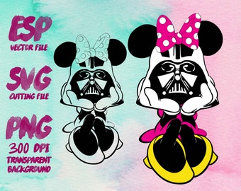 Minnie Darth Vader Star wars Clipart , SVG Cutting , ESP Vectors files , T shirt , iron on , sticker ,Personal Use