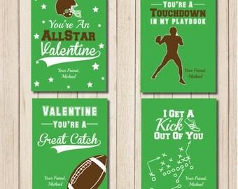 football valentine printable football valentines day classroom cards