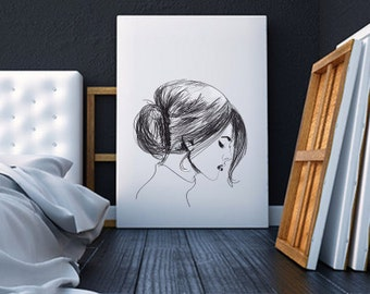 Sketched lady - Canvas Print - Wall Decor