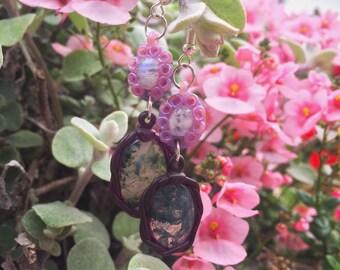 Moonstone and Moss Agate Dangle Ear rings