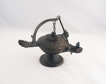 Antique or Vintage Bronze Islamic Hanging Oil Lamp