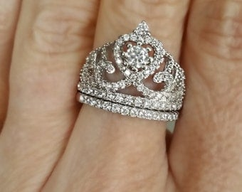 Sterling Silver Queen Princess Tiara Cubic Zirconia Promise Ring Set