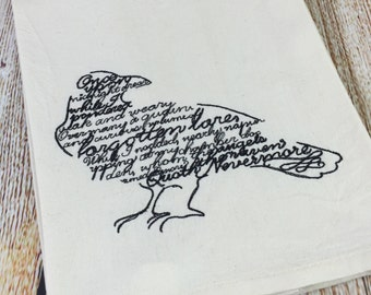 Embroidered Raven Tea Towel - Book Nerd Gifts - Raven Home Decor - Edgar Allen Poe Raven - Nevermore Quote - Embroidered Home Gifts
