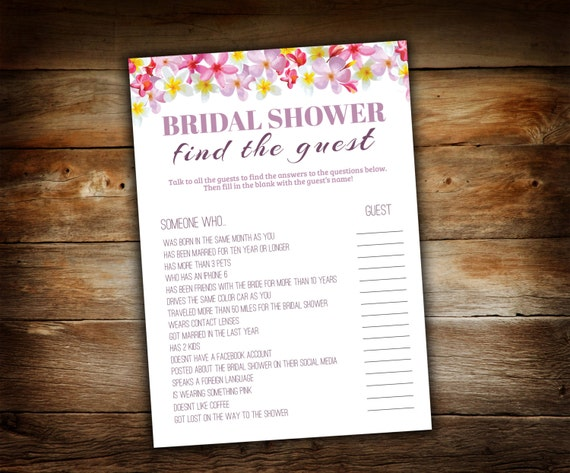 Find The Guest Game Bridal Shower Guest Game Wedding