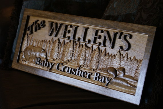Personalized cabin sign wood plaque custom carved 3d bear for Cabin signs wood