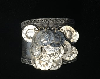 Jingle Jangle wide cuff silver bracelet with coin dangles!