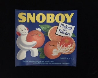 Vintage Original Snoboy Crate Label