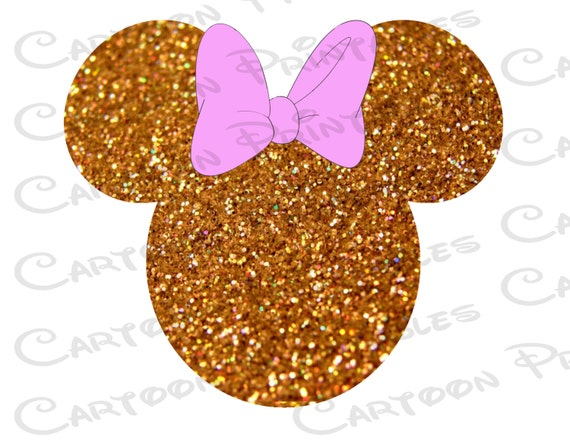 Minnie Mouse Head Gold Glitter Bling Image Mouse Ears