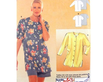 1997 Burda 3214 Loose Fitting Blouse with Front Button Opening and Two Sleeve Lengths, Uncut, Factory Folded Sewing Pattern Size 10-28
