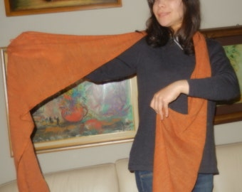 scarf color burnt sienna, pure wool.