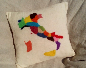 SALE! Map of Italy. Decorative pillow cower. Felted wool. Handmade. 40x40см.